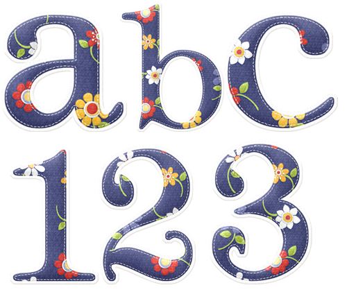 Английский алфавит с цветами в