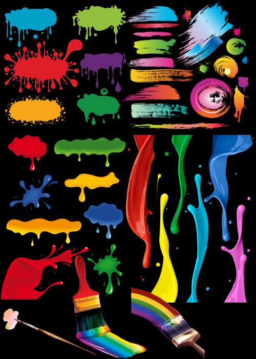 Цветные кляксы и мазки краски png